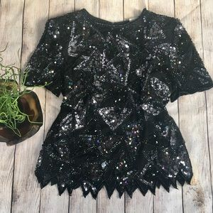Vintage 80s Sequin and Silk Scallop Edge Top